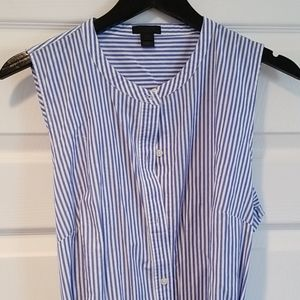 J. Crew blue and white striped cotton tunic dress